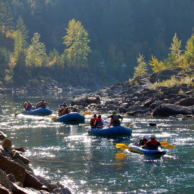 Group of rafts on the Middle fork of the Flathead