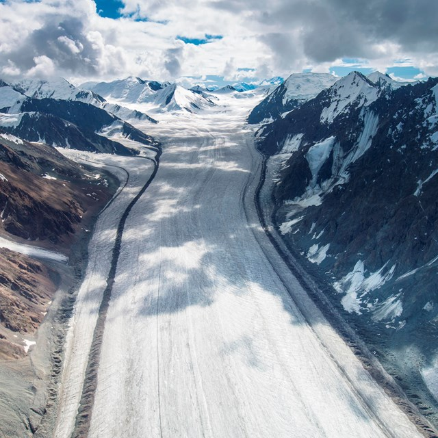 aerial view of valley glacier