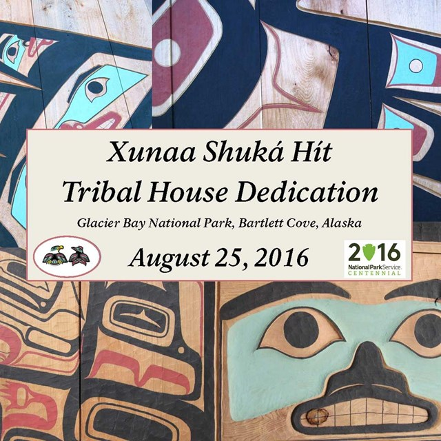 Promotional graphic with front of Tribal House photo
