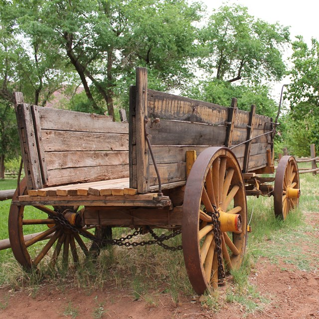 Old wagon parked in Lonely Dell Ranch