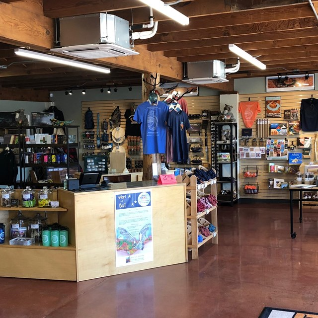 Interior of Glen Canyon Conservancy store selling books, souveniers, and other goods
