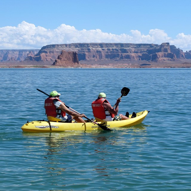 Pair paddle lake in a sit on top sea kayak