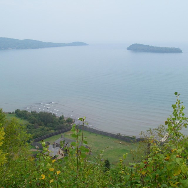 View of the stockade and Grand Portage Bay from Mt. Rose