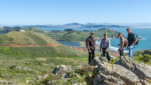 group of people on trail in Marin Headlands