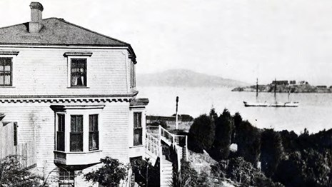 historic fort mason with view of alcatraz