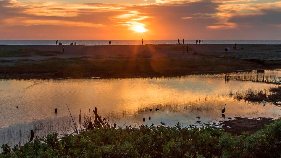 Sunset over rodeo beach lagoon / surfer lot wetland.