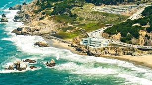 aerial view of cliff house and Sutro Baths