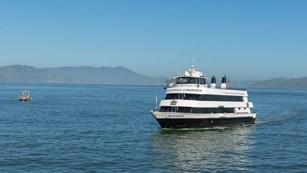 an Alcatraz Ferry Boat on the water