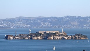 Alcatraz island from boat