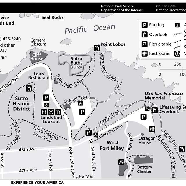 Map of Sutro Historic District (Land's End, Cliff House & Sutro Baths)