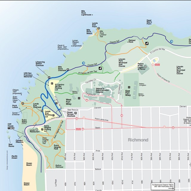 thumbnail of map of lands end with visitor highlights, trails, and parking.