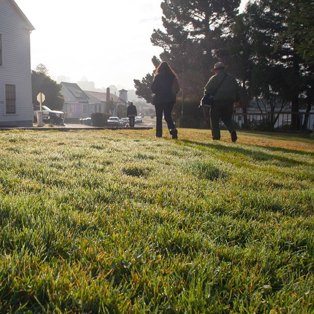 dutch angle of people walking on grassy path