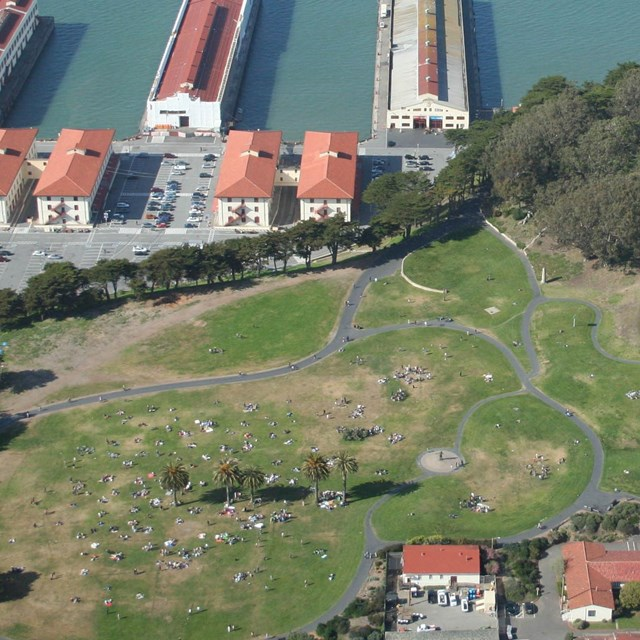 aerial view of fort mason