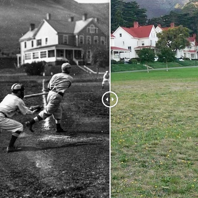 side by side image of former baseball field and what it looks like today