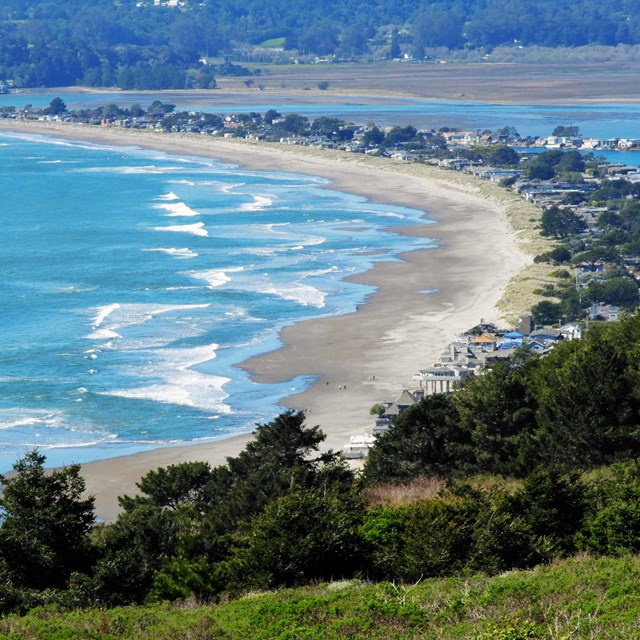 An overhead view of Stinson beach from Marin Headlands