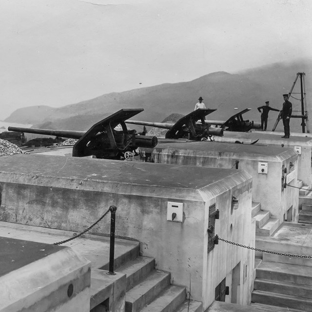 Historic photo of cannons at Fort Baker