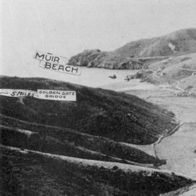 Old postcard with photo of valley leading down to Muir Beach.