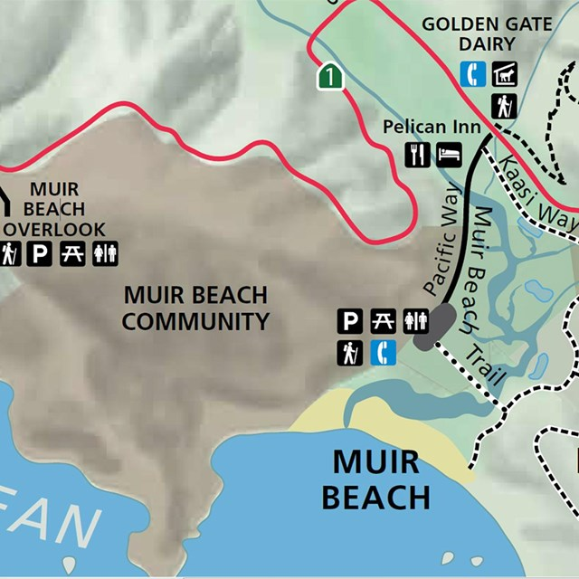map of Muir Beach and surrounding area