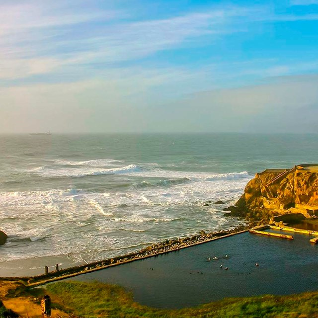 hazy image of the concrete ruins of sutro baths