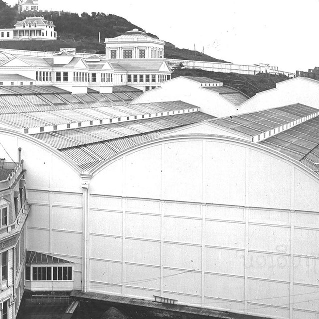 historical photo of the sutro baths exterior looking south c. 1907
