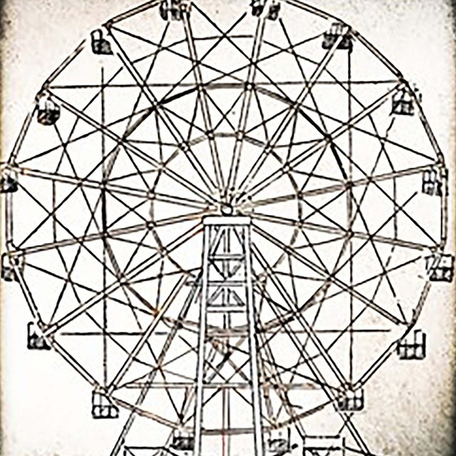 historic ink drawing of a ferris wheel