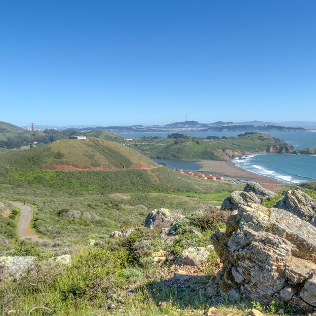 Scenic view of the Marin Headlands and the pacific ocean