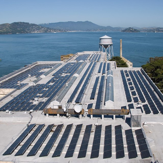 Aerial image of solar panels on Alcatraz cellhouse.