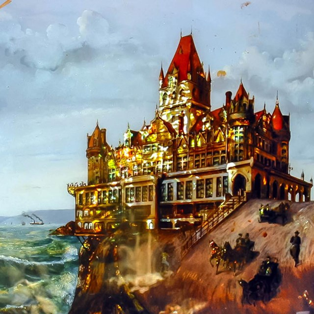 Painting of Neoclassical Cliff House