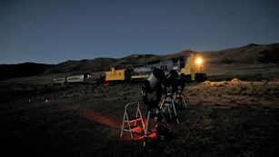 Telescopes set up a the Nevada Northern Railway's star train