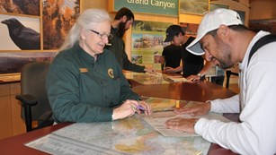 Volunteers helping guest at the Grand Canyon Visitors Center.