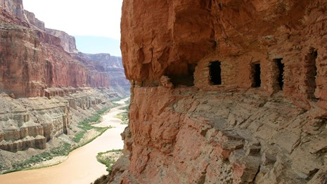 Prehistoric granaries along the Colorado River.