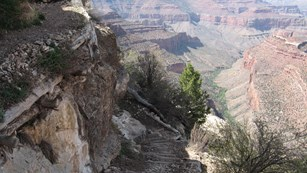 A hiking trial into the Grand Canyon.