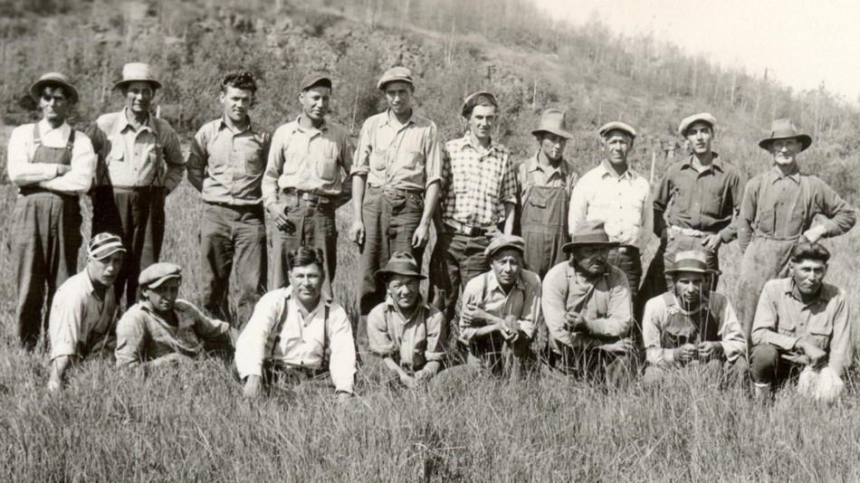 Grand Portage Civilian Conservation Corps, Indian Division (CCC-ID) crew in 1937.