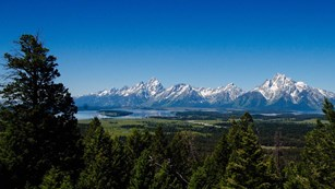 View from Grand View Point looking across Jackson Lake to the Teton Range