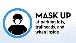 Text and icon: Mask up at parking lots, trailheads, and when inside
