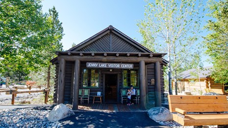 The Jenny Lake Visitor Center housed in a historic log cabin