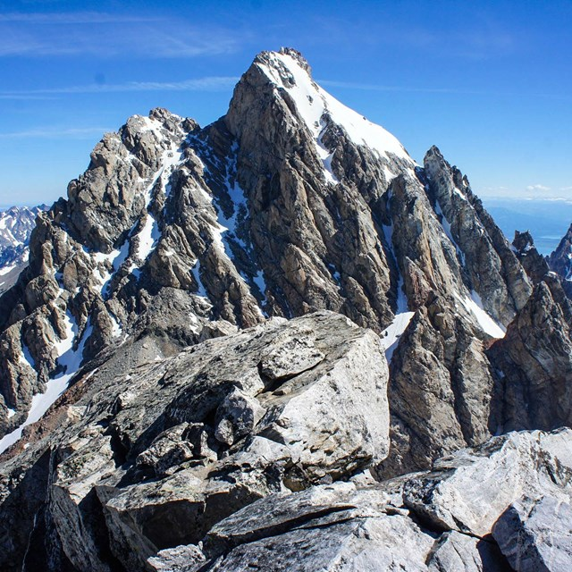 A photo of the Grand Teton taken from a neighboring summit