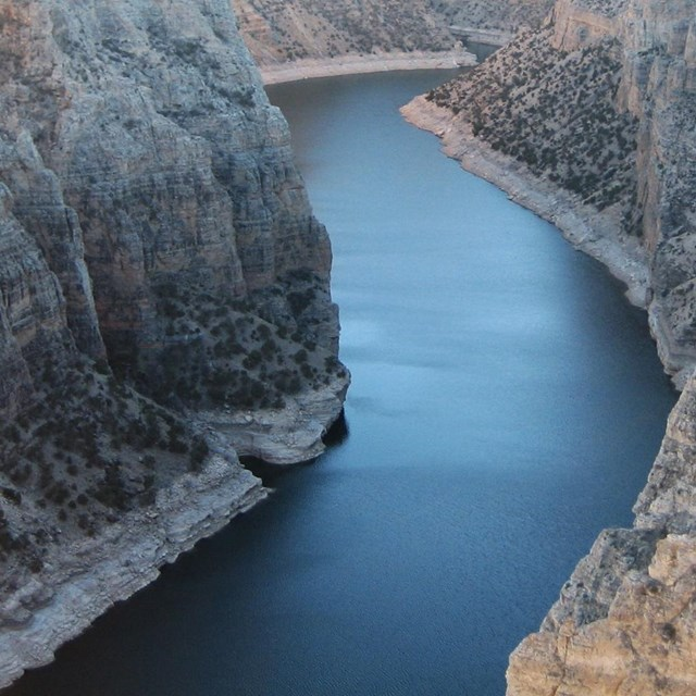 bighorn river flowing through deep-walled canyon