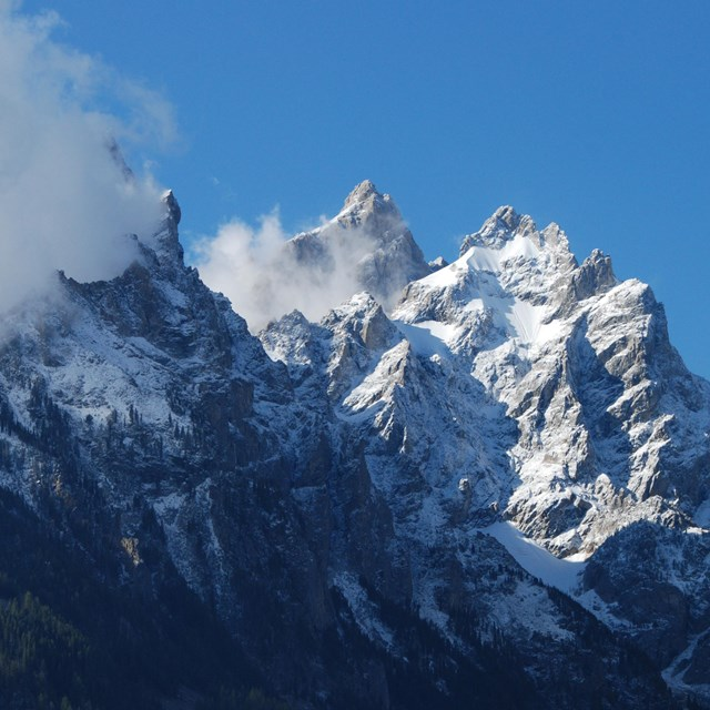 View of the Cathedral Group of peaks in Grand Teton National Park