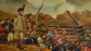 Don Troiani watercolor painting of the Guilford Militia at a split rail fence