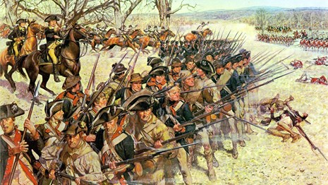Illustration of the American Third Line soldiers at Battle of Guilford Courthouse facing British