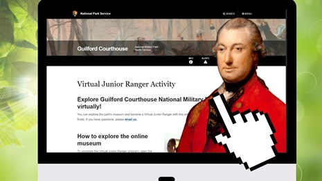 A computer screen features Lord Cornwallis, the Virtual Junior Ranger page, and hovering white hand