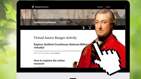 Lord Cornwallis and the Virtual Junior Ranger webpage on a computer, with floating hand