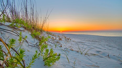 Sunrise over a white sand beach.