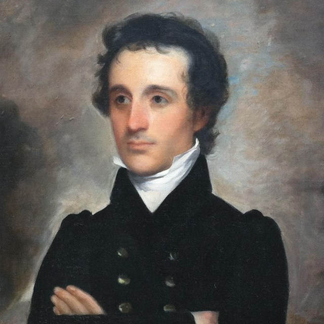 Painting of a white man with black hair in a military uniform with his arms crossed.