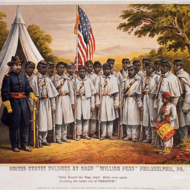 Historic engraving of African American soldiers during the American Civil War.