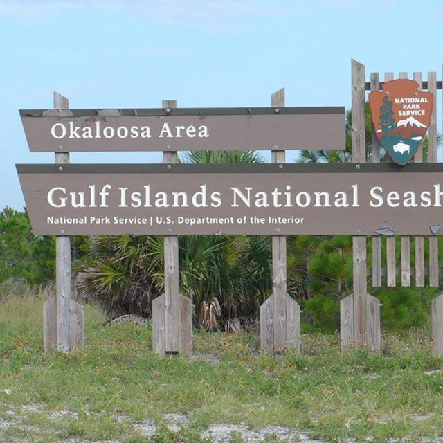 The park's entrance sign at the Okaloosa Area.