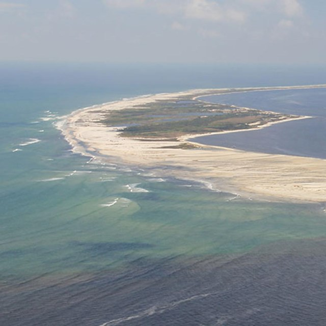 An aerial image of Petit Bois Island.
