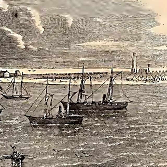 Wood etching of naval vessels off the coast of a barrier island.