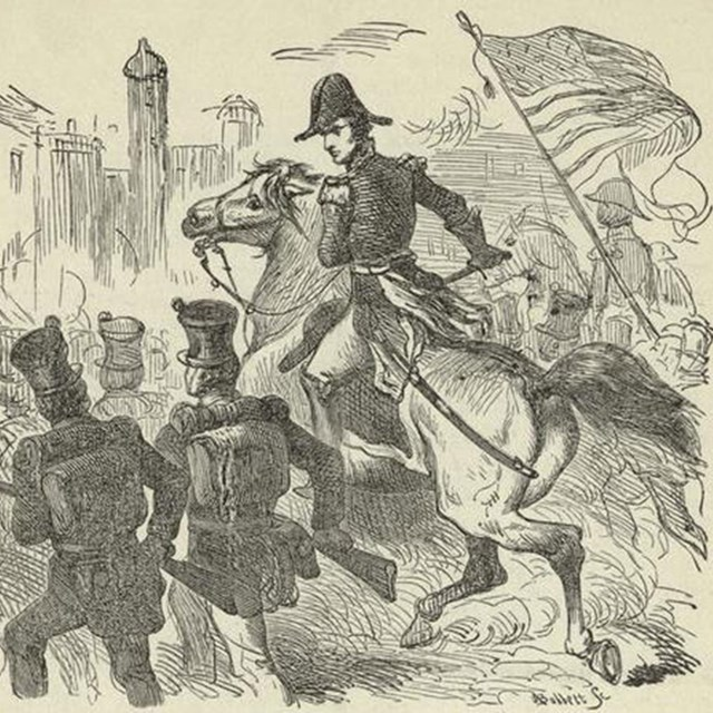 Pencil sketch of soldiers entering a city with an officer on horseback in the center.